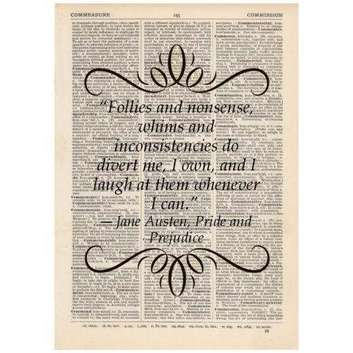 Follies and nonsense Dictionary Gift Art Print Jane Austen Pride /& Prejudice