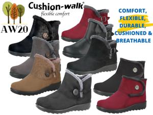 Ladies Cushion Walk Winter Faux Suede