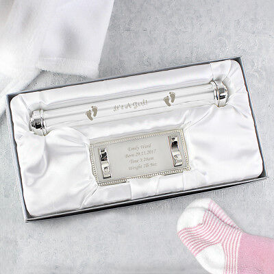 Personalised Engraved Silver Birth Certificate Holder /'It/'s a Girl/'New Baby Gift