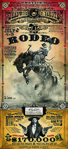 Deadwood South Dakota Rodeo Western Poster by Bob Coronato