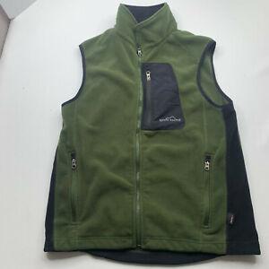 Eddie Bauer Vest Medium Black Green Fleece Full Zip Jacket Outdoor Mens U200
