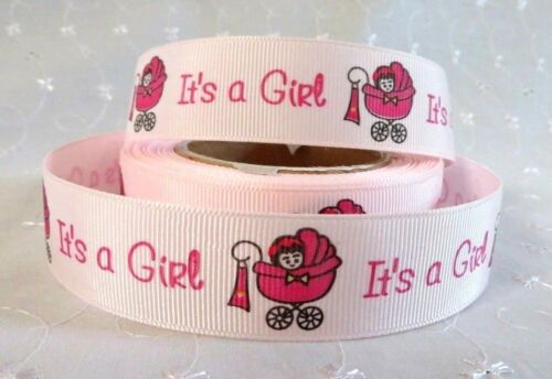 "CAKE 1m /""IT/'S A GIRL/"" NEW BABY GROSGRAIN RIBBON 22//25mm BABY SHOWER NEW BABY"
