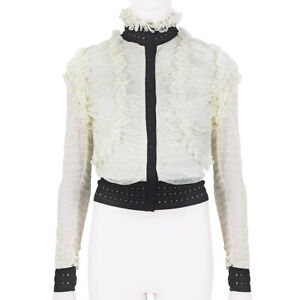 Alexander-McQueen-Ivory-Black-Ruched-Lace-Stand-Collar-Cardigan-M-UK10-IT42