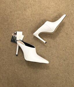 Zara White Leather High Heel Mules