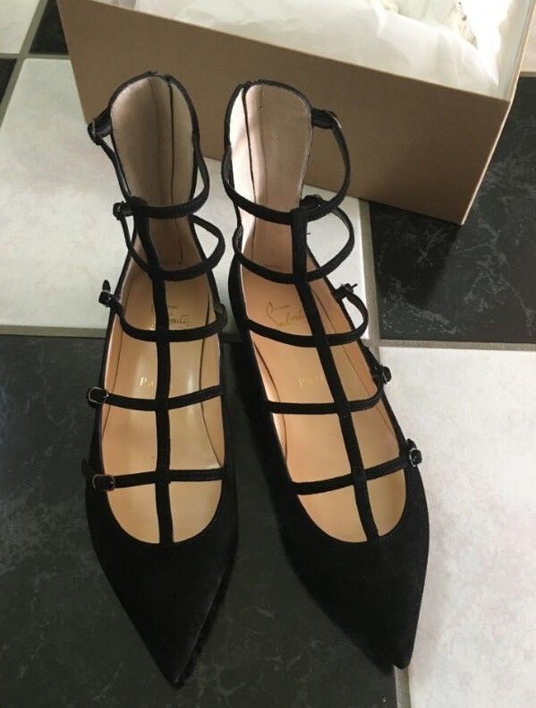 NIB 100% AUTH Christian Louboutin Toerless Black Suede Muse Caged Skimmer Flat