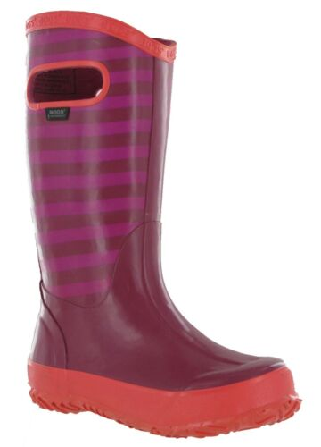 Bogs rain rayure filles wellington caoutchouc étanche enfants mi-mollet bottes bottes