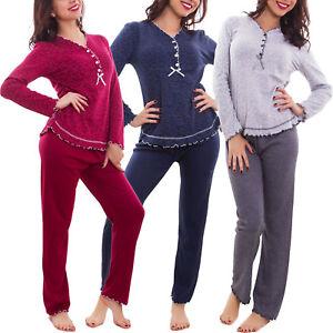Pyjama-femme-manches-longues-c-urs-pantalon-ruches-nuit-coton-sweat-shirt-S253