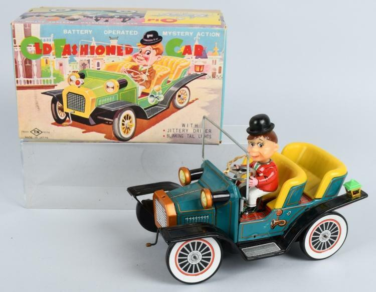 OLD FASHIONED CAR TN NOMURA W BOX MYSTERY ACTION WORKS Japan tin battery op