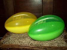 NEW SET/ 2 LARGE JUMBO FILLABLE EASTER EGG PLASTIC CONTAINER HOLDS CANDY GIFTS