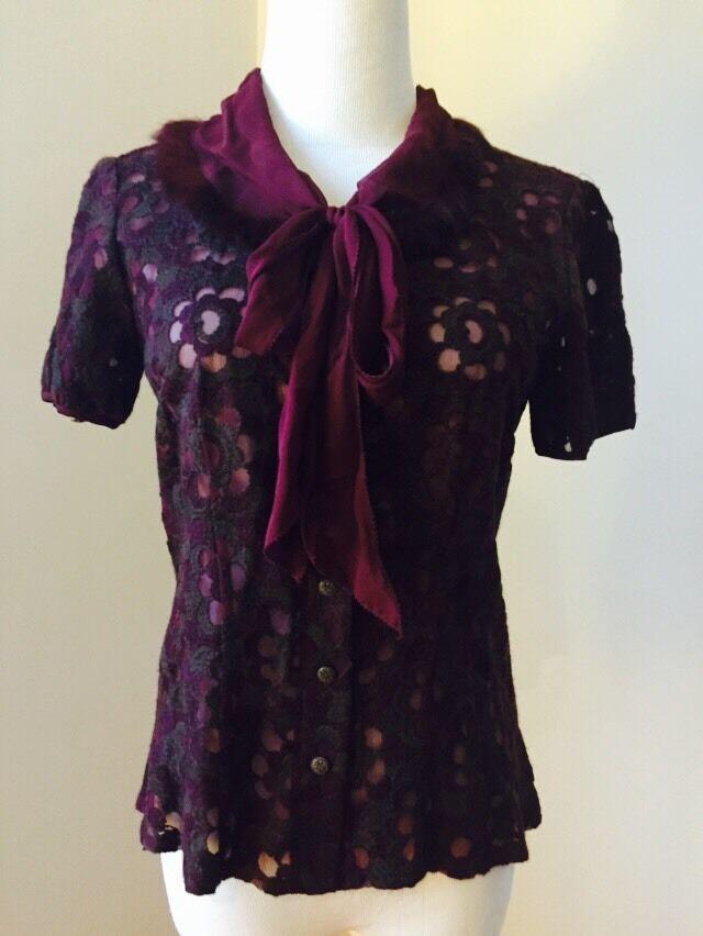 Cynthia steffe silk blouse top shirt rabbit fur trim Sz 6 maroon