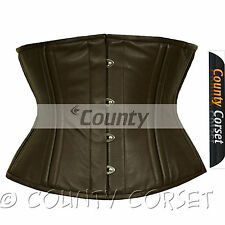 Waist Training Cincher 18 Double Steel Boned Waistbust Real Brown Leather Corset