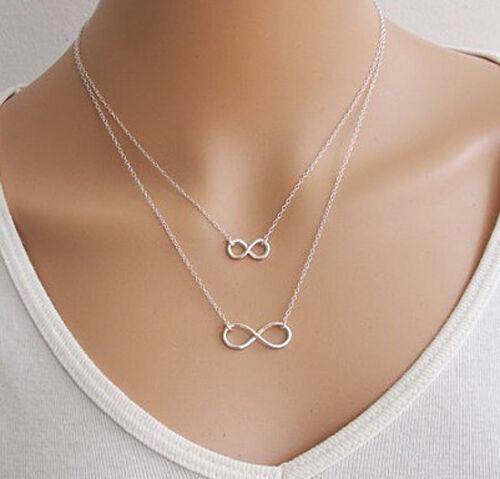 HALSKETTE Infinity Endless Anhänger Unendlich Schmuck Damenkette Kette Damen