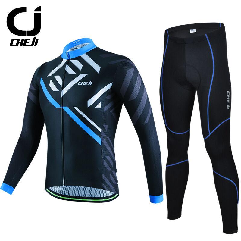 Cheji Ciclismo Camiseta Manga Larga Pantalones Set Kit  De Larga Para Hombre Indumentaria De Ciclismo Negro  cómodamente