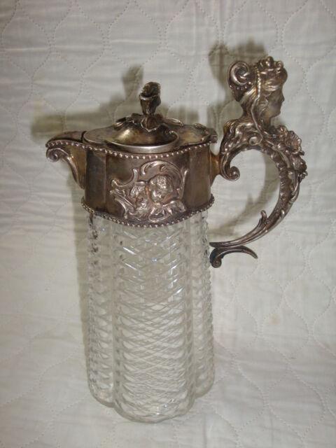 Antike Kristall Weinkaraffe mit Silbermontierung Russland 84 Silber