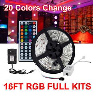 16FT-Waterproof-LED-Strip-Light-12V-US-Power-Full-Kit-SMD-44-Key-Remote-RGB-5050