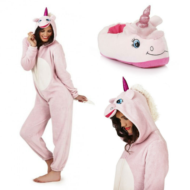 Luxury Ladies Pink Plush 3D Unicorn Slippers Or 3D Fleece Onezee Make a Gift Set