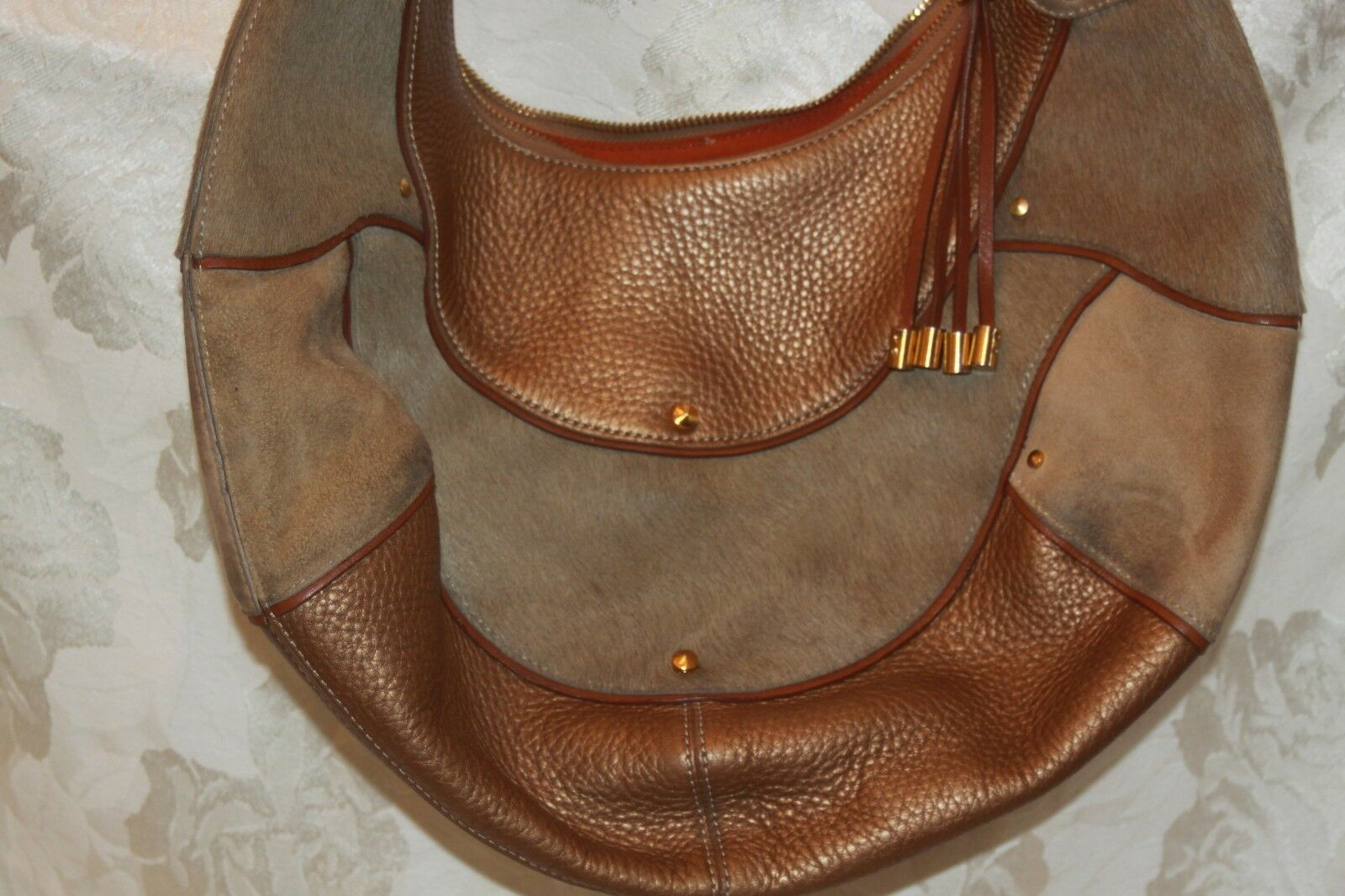 COLE HAAN Gold Fish F05 Large Hobo Handbag Purse … - image 4