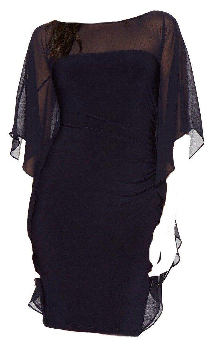 LAUREN RALPH LAUREN damen Blau FLUTTER SLEEVE JERSEY SHEATH DRESS Größe 8