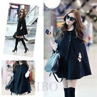 Women Fashion Cape Bat wing Poncho Cloak Woolen Coat Top Black cappa Jacket