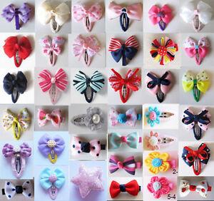 Girls-Baby-Kids-Children-Hair-Accessories-Bows-Snaps-Alligator-Clips-Slides