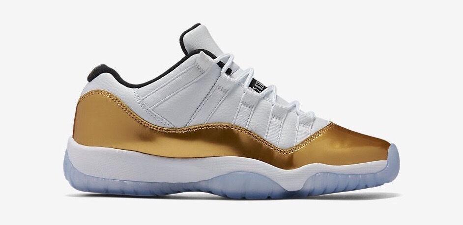 Nike Air Jordan Retro 11 XI baja ceremonia oro blanco GS 528895 103 hombres & GS blanco marca olímpica de descuento b652aa