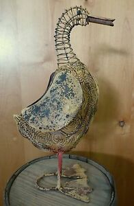 "18.5"" VINTAGE-STYLE RUSTIC METAL DUCK figure sculpture shabby farm country decor"
