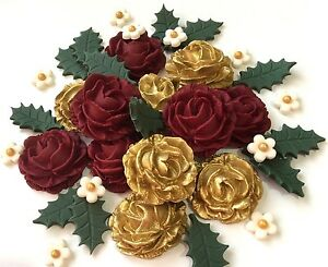 Christmas Flower Decorations.Details About Red Gold Rose Christmas Bouquet Flowers Cake Decorations Toppers