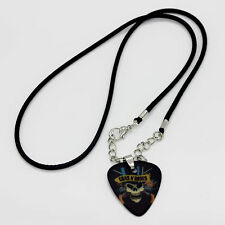1PCS Noctilucent Band Pattern Black Leather Chain Guitar Pick Pendant Necklace