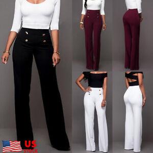 UK Womens High Waist Wide Leg Palazzo Ladies OL Workwear Fleared Pants Trousers