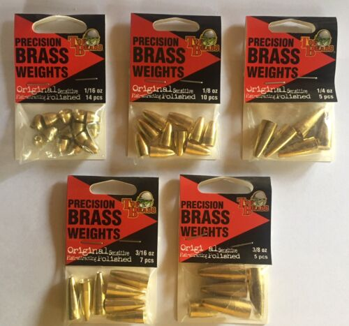 5//PACK Top Brass Precison Brass Worm Weight BRASS CHOOSE SIZES FROM 14//PACK