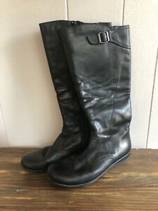 8cd412a4e36 Details about Clarks Womens 8 Knee High Side Zip Black Leather Boots 1
