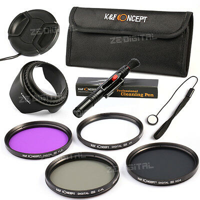 58 UV FLD CPL Polarizing ND4 Neutral Density Lens Filter Kit Hood Cap For Canon