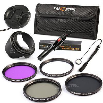 58 UV FLD CPL Polarizing ND4 Neutral Density Lens Filter Kit Hood Cap For Canon