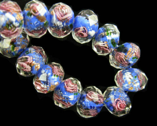 20pcs Rondelle Faceted Glass Rose Flower Inside Lampwork Beads Spacer Charms#Q