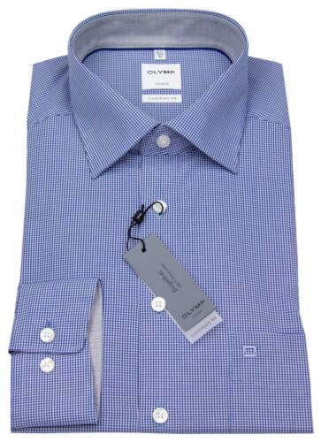 Olymp Herren Hemd Comfort Fit Check blau weiß 3190 64 19