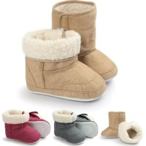 Baby Toddler Winter Warm Soft Fur Boots Girl Boy Snow Booties Crib Shoes 0-18M