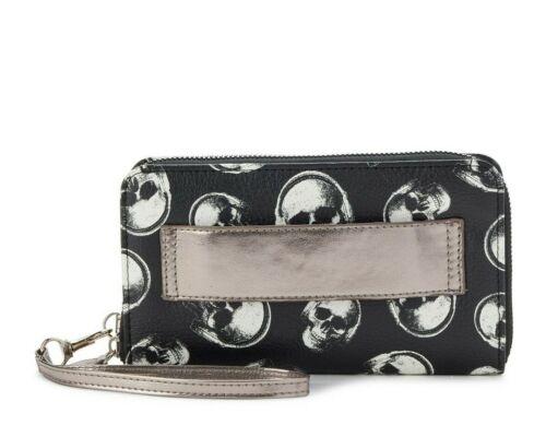 No Boundaries Morgan Wallet Wristlet Cell Bag Black with Skulls free shipping
