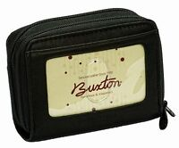 Buxton Womens Mini Leather Credit Card Id Wizard Wallet Purse Black