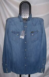 WRANGLER-denim-shirt-Camicia-Jeans-Regular-Light-Indigo-Tg-XL