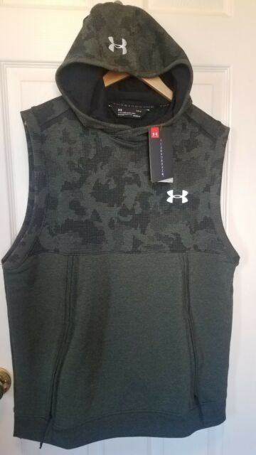 e5378c10dc652c New Under Armour Men Threadborne Fleece Sleeveless Vest Pullover Hoodie  Green L