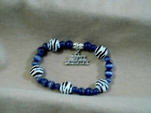 Periwinkle & Zebra Bracelet with an I Will Survive Charm