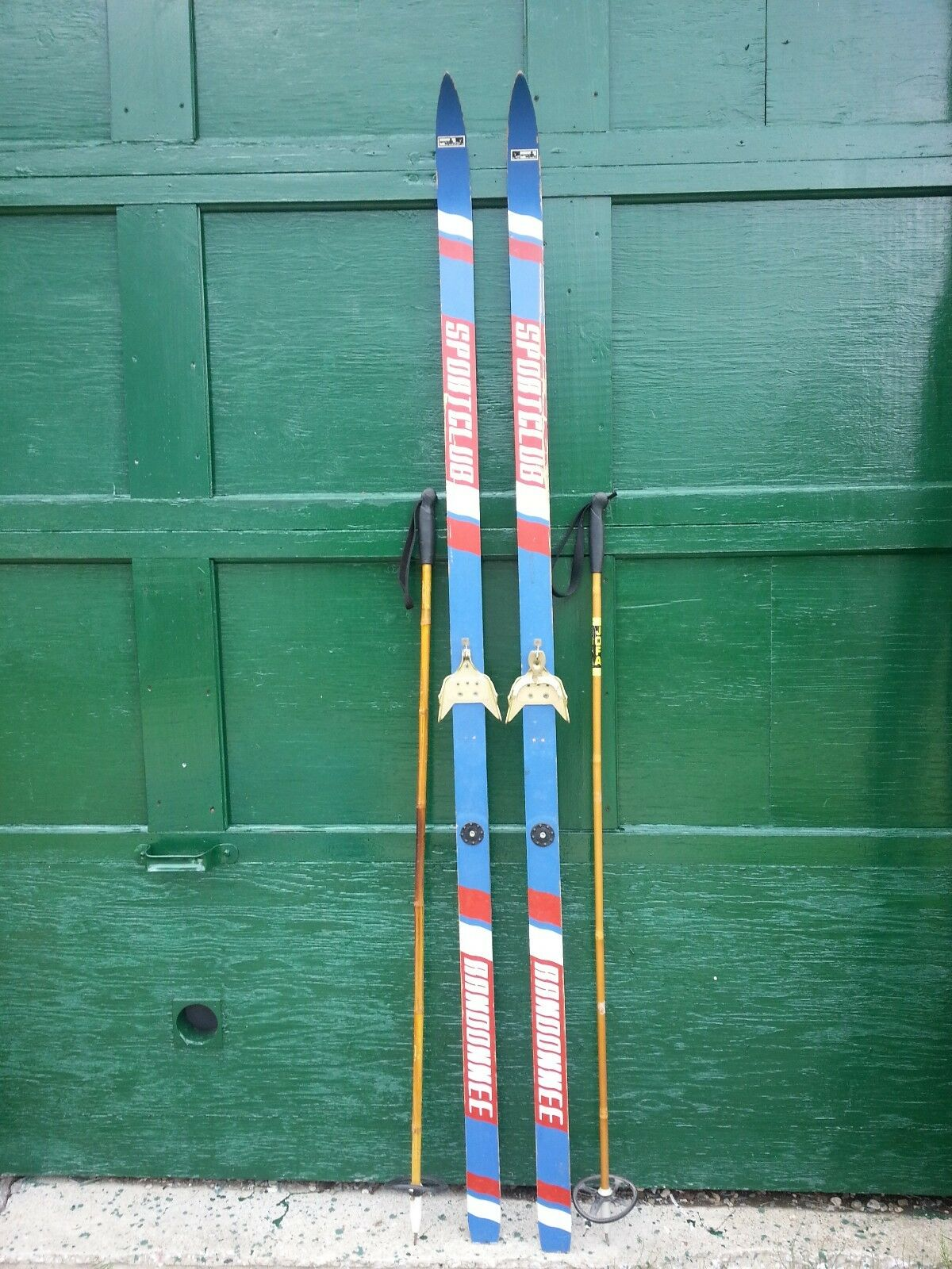 VINTAGE Wooden 76  Skis  with bluee  White and Red Finish with Cable Bindings  online shopping and fashion store