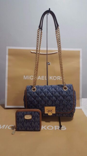 1ba40cc0d1ff NWT Michael Kors Vivianne Denim Set Shoulder Crossbody Handbag Tote+Wallet