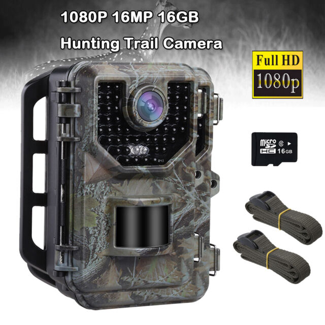 16MP 1080P Hunting Camera IP66 + 16GB Card + 2X Belt Security Game Trail Cameras