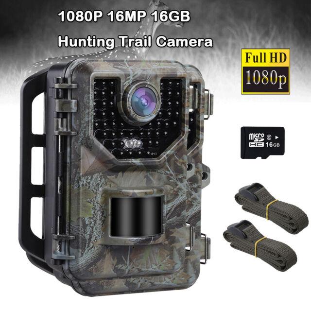 16MP Full HD 1080P Hunting Camera Waterproof + 16GB Card + 2X Belt Trail Cameras