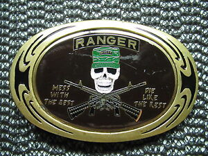 RANGER MESS WITH THE BEST DIE LIKE THE REST BELT BUCKLE! VINTAGE! RARE! 1983!