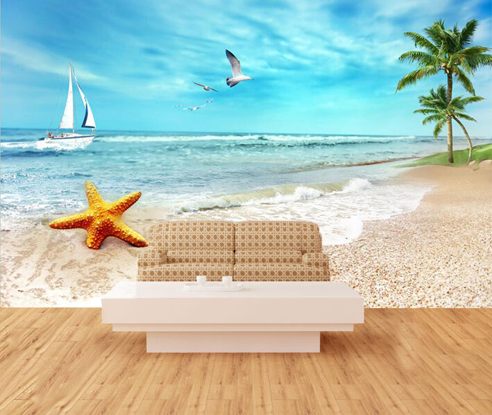 3D Beach boat bird Wall Paper Wall Print Decal Wall Deco Indoor Wall Murals