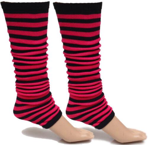LADIES GIRLS STRIPE STRIPED LEG WARMERS FOR TUTU DANCE 1980/'s FANCY DRESS PARTY