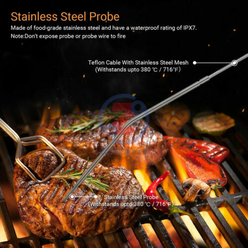 4X1.5V Electronic Digital Display Wireless Barbecue Thermometer Dual Probe