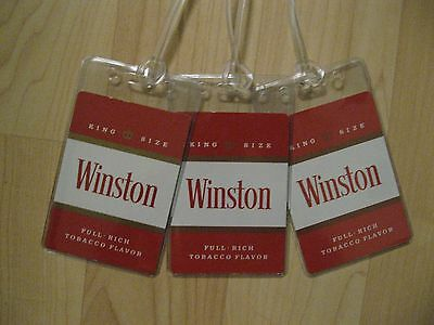 Winston Cigarettes Luggage Tags - Vintage Red Pack Playing Card Name Tag Set (3)